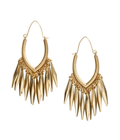 Long Earrings - predominant colour: gold; occasions: evening, occasion; style: drop; length: mid; size: standard; material: chain/metal; fastening: pierced; finish: metallic; season: s/s 2015; wardrobe: event