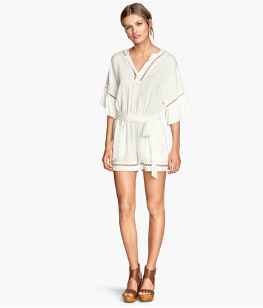 Playsuit With Hemstitching - neckline: low v-neck; fit: loose; pattern: plain; waist detail: belted waist/tie at waist/drawstring; length: short shorts; predominant colour: white; occasions: casual, holiday; sleeve length: 3/4 length; sleeve style: standard; style: playsuit; pattern type: fabric; texture group: other - light to midweight; season: s/s 2015; wardrobe: holiday