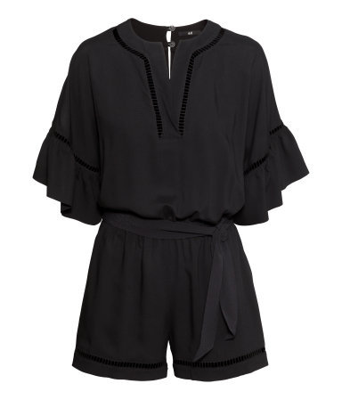 Playsuit With Hemstitching - neckline: low v-neck; sleeve style: angel/waterfall; fit: fitted at waist; pattern: plain; waist detail: belted waist/tie at waist/drawstring; length: short shorts; predominant colour: black; occasions: casual, evening; sleeve length: 3/4 length; style: playsuit; pattern type: fabric; texture group: other - light to midweight; season: s/s 2015; wardrobe: highlight
