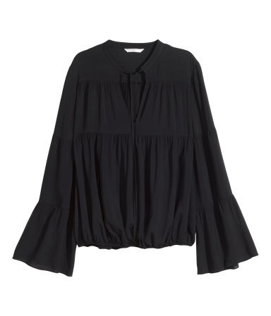 Blouse With Trumpet Sleeves - sleeve style: angel/waterfall; pattern: plain; predominant colour: black; occasions: casual, creative work; length: standard; style: top; neckline: peep hole neckline; fit: loose; sleeve length: long sleeve; pattern type: fabric; texture group: other - light to midweight; season: s/s 2015; wardrobe: basic