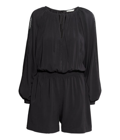 Jumpsuit - fit: fitted at waist; pattern: plain; waist detail: fitted waist; sleeve style: balloon; length: mid thigh shorts; predominant colour: black; occasions: casual; neckline: peep hole neckline; fibres: viscose/rayon - 100%; sleeve length: long sleeve; style: jumpsuit; pattern type: fabric; texture group: other - light to midweight; embellishment: lace; season: s/s 2015; wardrobe: highlight