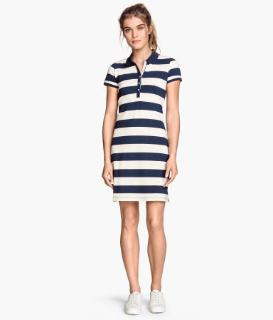 Piqué Dress - style: shirt; length: mid thigh; neckline: shirt collar/peter pan/zip with opening; pattern: horizontal stripes; bust detail: buttons at bust (in middle at breastbone)/zip detail at bust; secondary colour: ivory/cream; predominant colour: navy; occasions: casual; fit: body skimming; fibres: cotton - stretch; sleeve length: short sleeve; sleeve style: standard; pattern type: fabric; pattern size: standard; texture group: jersey - stretchy/drapey; season: s/s 2015