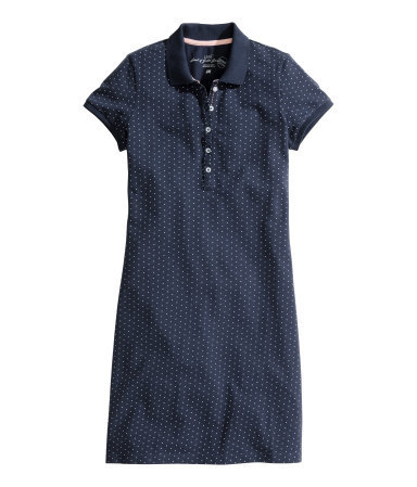 Piqué Dress - style: t-shirt; length: mid thigh; neckline: shirt collar/peter pan/zip with opening; predominant colour: navy; occasions: casual; fit: body skimming; fibres: cotton - mix; sleeve length: short sleeve; sleeve style: standard; pattern type: fabric; pattern size: standard; pattern: patterned/print; texture group: jersey - stretchy/drapey; season: s/s 2015; wardrobe: highlight; embellishment location: bust
