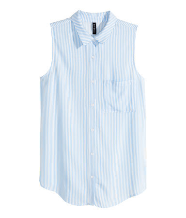 Sleeveless Blouse - neckline: shirt collar/peter pan/zip with opening; sleeve style: sleeveless; style: shirt; pattern: pinstripe; secondary colour: white; predominant colour: pale blue; occasions: casual, creative work; length: standard; fibres: viscose/rayon - 100%; fit: straight cut; sleeve length: sleeveless; pattern type: fabric; texture group: woven light midweight; season: s/s 2015; multicoloured: multicoloured; wardrobe: highlight