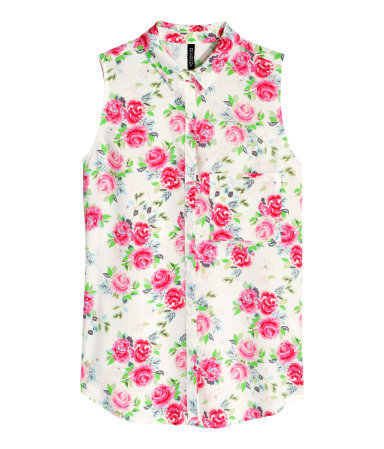 Sleeveless Blouse - neckline: shirt collar/peter pan/zip with opening; sleeve style: sleeveless; style: shirt; predominant colour: ivory/cream; secondary colour: hot pink; occasions: casual, creative work; length: standard; fit: straight cut; sleeve length: sleeveless; pattern type: fabric; pattern size: standard; pattern: florals; texture group: woven light midweight; season: s/s 2015; multicoloured: multicoloured