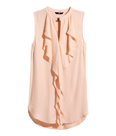Frilled Sleeveless Blouse - pattern: plain; sleeve style: sleeveless; style: blouse; predominant colour: nude; occasions: casual, creative work; length: standard; neckline: collarstand; fit: body skimming; sleeve length: sleeveless; texture group: crepes; pattern type: fabric; season: s/s 2015; wardrobe: basic