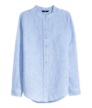 Linen Blouse - pattern: plain; style: blouse; predominant colour: pale blue; occasions: casual, creative work; length: standard; neckline: collarstand; fit: body skimming; sleeve length: long sleeve; sleeve style: standard; texture group: linen; pattern type: fabric; season: s/s 2015