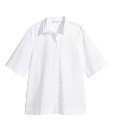 Oversized Shirt - neckline: shirt collar/peter pan/zip with opening; pattern: plain; style: shirt; predominant colour: white; occasions: casual, creative work; length: standard; fit: straight cut; sleeve length: half sleeve; sleeve style: standard; texture group: cotton feel fabrics; pattern type: fabric; season: s/s 2015; wardrobe: basic