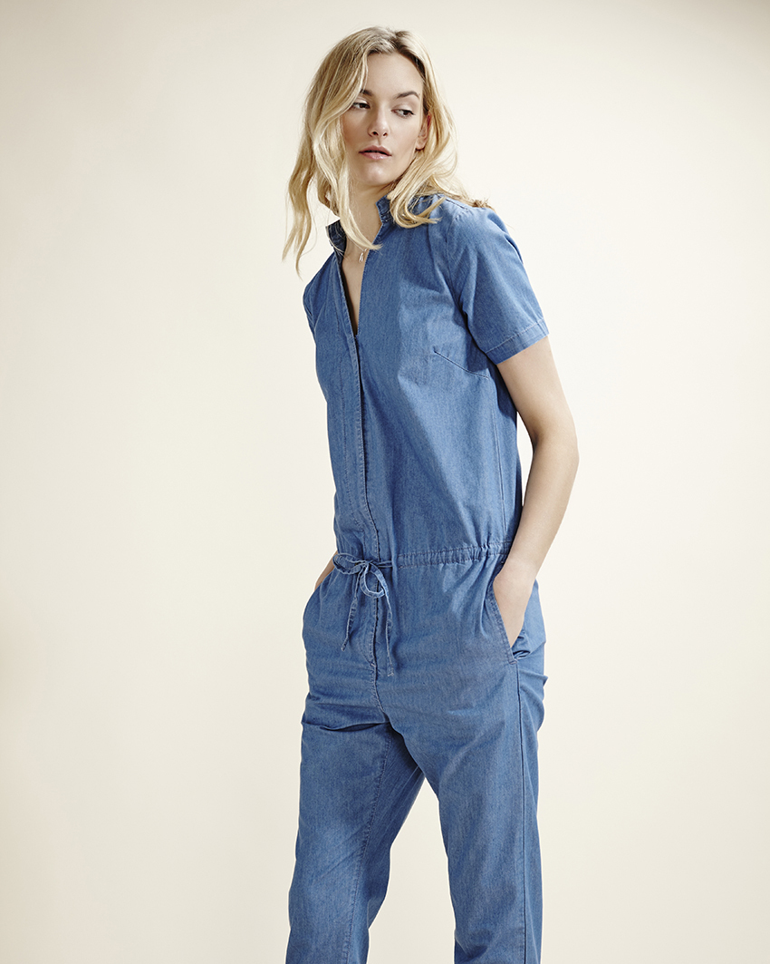 Blue Denim Jumpsuit - length: standard; neckline: shirt collar/peter pan/zip with opening; pattern: plain; waist detail: belted waist/tie at waist/drawstring; predominant colour: denim; occasions: casual; fit: straight cut; sleeve length: short sleeve; sleeve style: standard; texture group: denim; style: jumpsuit; pattern type: fabric; season: s/s 2015
