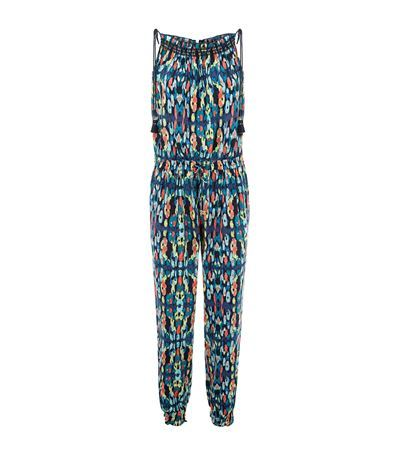 Ikat Printed Jumpsuit - length: standard; neckline: round neck; sleeve style: sleeveless; predominant colour: turquoise; secondary colour: bright orange; occasions: casual; fit: body skimming; fibres: viscose/rayon - 100%; sleeve length: sleeveless; style: jumpsuit; pattern type: fabric; pattern: patterned/print; texture group: jersey - stretchy/drapey; season: s/s 2015; multicoloured: multicoloured; wardrobe: highlight