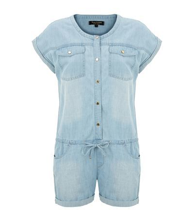 Chambray Denim Playsuit - pattern: plain; bust detail: pocket detail at bust; length: short shorts; predominant colour: pale blue; occasions: casual; fit: body skimming; fibres: cotton - mix; neckline: crew; sleeve length: short sleeve; sleeve style: standard; texture group: denim; style: playsuit; pattern type: fabric; season: s/s 2015; wardrobe: highlight