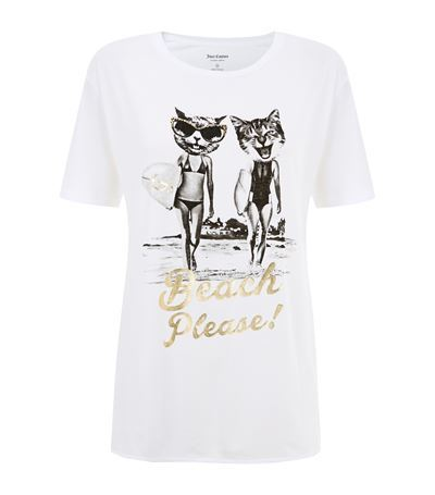 Surfer Cat T Shirt - style: t-shirt; predominant colour: white; secondary colour: gold; occasions: casual, creative work; length: standard; fibres: cotton - mix; fit: straight cut; neckline: crew; sleeve length: short sleeve; sleeve style: standard; texture group: jersey - stretchy/drapey; pattern: graphic/slogan; season: s/s 2015; pattern size: big & busy (top)