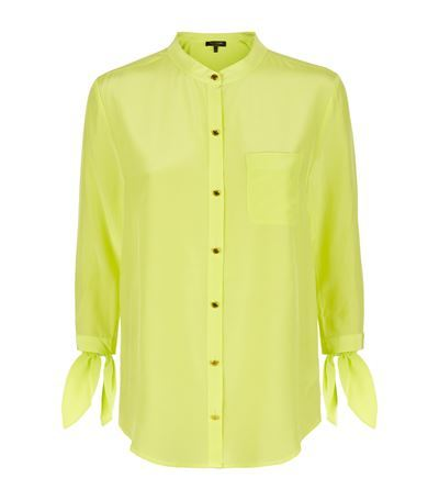 Bow Silk Shirt - pattern: plain; style: shirt; predominant colour: lime; occasions: casual, creative work; length: standard; neckline: collarstand; fibres: silk - 100%; fit: straight cut; sleeve length: 3/4 length; sleeve style: standard; texture group: silky - light; bust detail: bulky details at bust; pattern type: fabric; season: s/s 2015; wardrobe: highlight