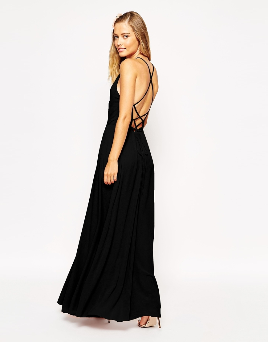Maxi Dress With Tie Back Blush - neckline: high square neck; pattern: plain; sleeve style: sleeveless; style: maxi dress; predominant colour: black; occasions: evening, occasion; length: floor length; fit: fitted at waist & bust; fibres: viscose/rayon - 100%; hip detail: subtle/flattering hip detail; back detail: crossover; sleeve length: sleeveless; pattern type: fabric; texture group: jersey - stretchy/drapey; season: s/s 2015; wardrobe: event