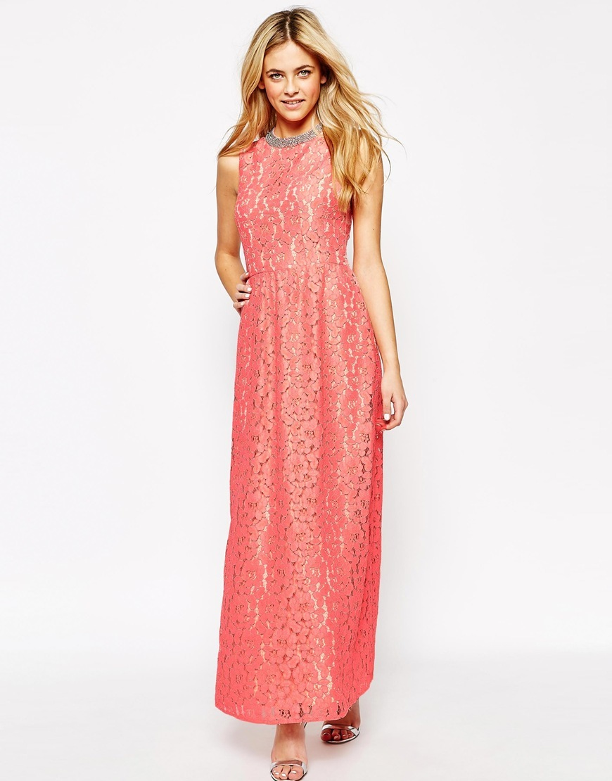 Premium Lace Maxi Dress Light Pink - sleeve style: sleeveless; style: maxi dress; length: ankle length; predominant colour: coral; secondary colour: silver; occasions: evening, occasion; fit: fitted at waist & bust; fibres: polyester/polyamide - mix; neckline: crew; sleeve length: sleeveless; texture group: lace; pattern type: fabric; pattern: patterned/print; embellishment: crystals/glass; season: s/s 2015; wardrobe: event