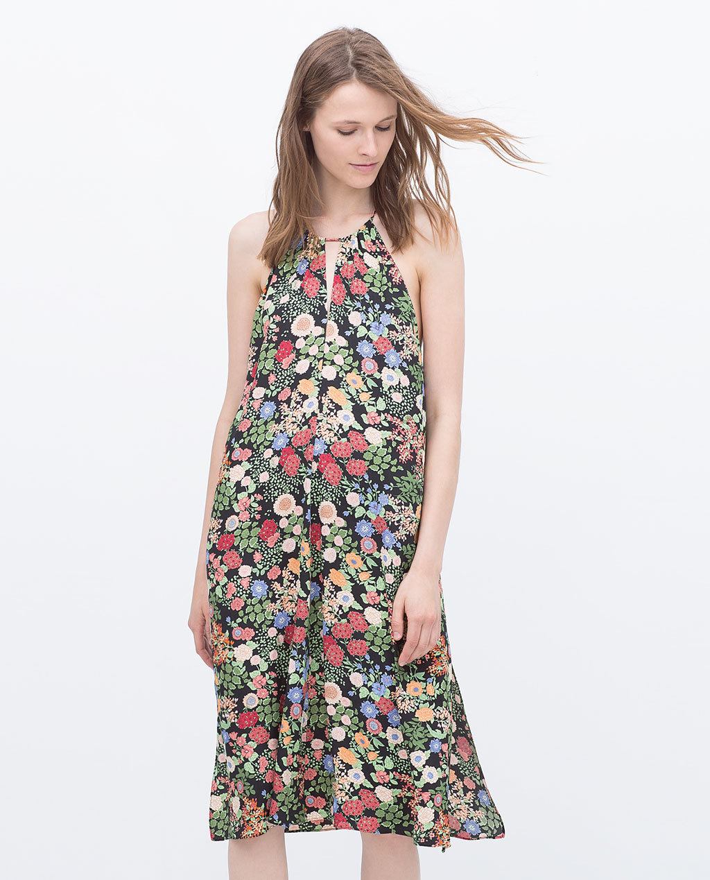 Printed Dress - style: a-line; length: below the knee; fit: loose; sleeve style: sleeveless; neckline: low halter neck; secondary colour: emerald green; predominant colour: black; occasions: casual, evening; fibres: polyester/polyamide - 100%; hip detail: subtle/flattering hip detail; sleeve length: sleeveless; pattern type: fabric; pattern size: standard; pattern: florals; texture group: woven light midweight; season: s/s 2015; multicoloured: multicoloured; wardrobe: highlight