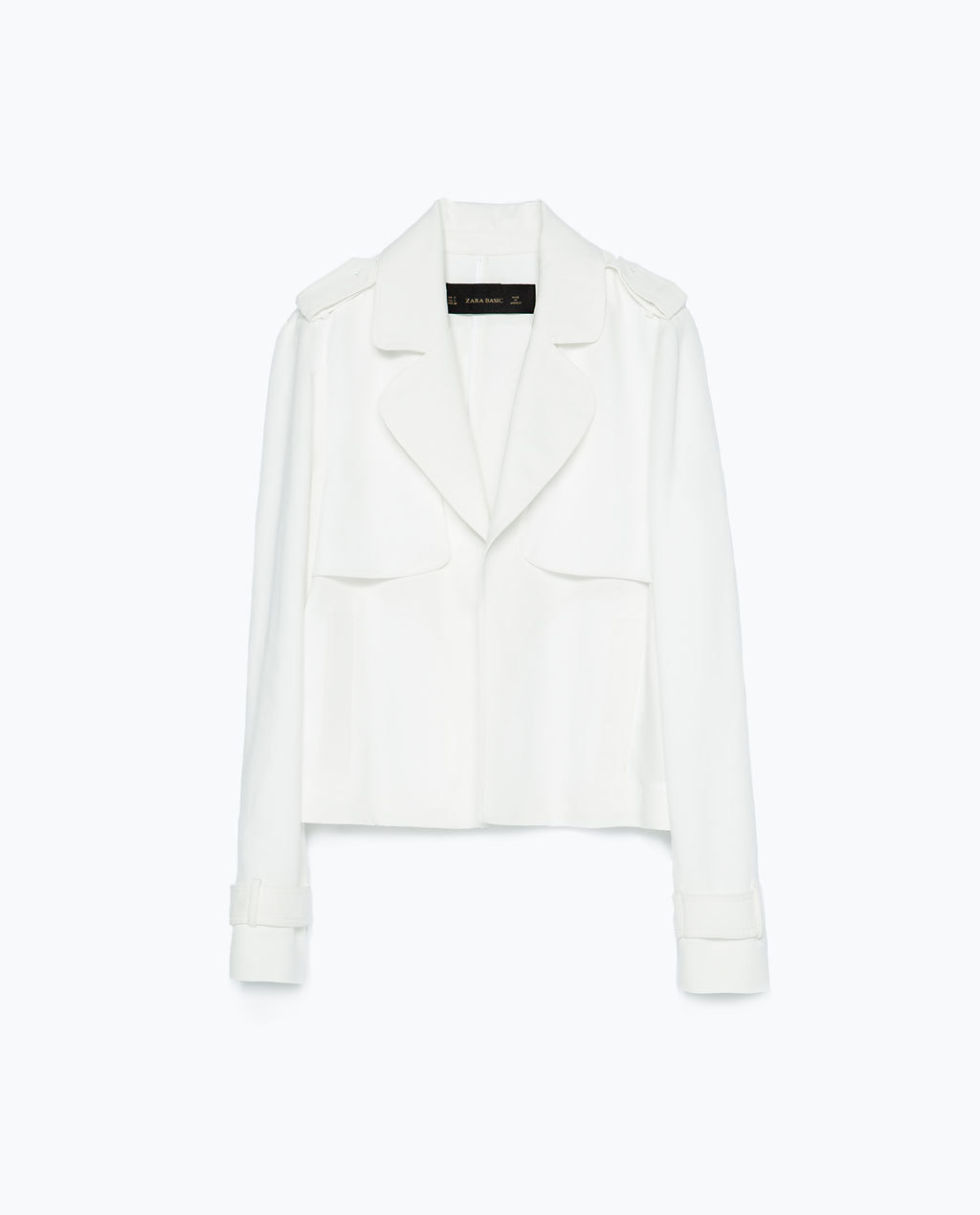 Loose Cut Jacket - pattern: plain; style: single breasted blazer; shoulder detail: obvious epaulette; collar: standard lapel/rever collar; predominant colour: white; occasions: casual, creative work; length: standard; fit: straight cut (boxy); fibres: cotton - 100%; sleeve length: long sleeve; sleeve style: standard; texture group: crepes; collar break: medium; pattern type: fabric; season: s/s 2015; wardrobe: basic