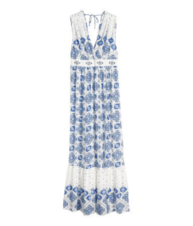Patterned Maxi Dress - neckline: low v-neck; fit: empire; sleeve style: sleeveless; style: maxi dress; length: ankle length; back detail: back revealing; secondary colour: white; predominant colour: royal blue; occasions: casual; fibres: viscose/rayon - 100%; sleeve length: sleeveless; pattern type: fabric; pattern size: standard; pattern: patterned/print; texture group: woven light midweight; season: s/s 2015; wardrobe: highlight