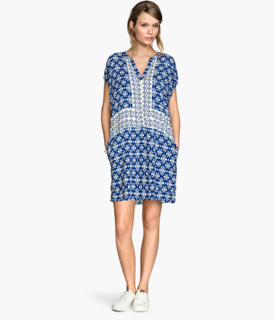 Patterned Dress - style: tunic; length: mid thigh; neckline: v-neck; sleeve style: dolman/batwing; fit: loose; predominant colour: royal blue; secondary colour: light grey; occasions: casual; fibres: viscose/rayon - 100%; sleeve length: short sleeve; pattern type: fabric; pattern size: standard; pattern: patterned/print; texture group: woven light midweight; season: s/s 2015; wardrobe: highlight