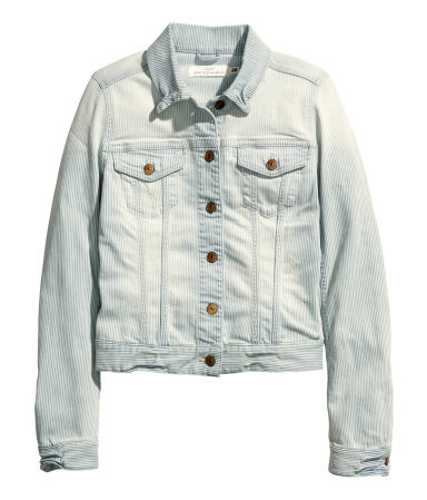 Denim Jacket - pattern: plain; style: denim; predominant colour: denim; occasions: casual; length: standard; fit: straight cut (boxy); fibres: cotton - mix; collar: shirt collar/peter pan/zip with opening; sleeve length: long sleeve; sleeve style: standard; texture group: denim; collar break: high/illusion of break when open; pattern type: fabric; season: s/s 2015; wardrobe: basic