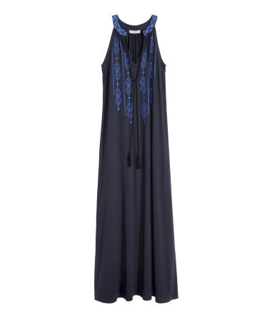 Embroidered Maxi Dress - neckline: v-neck; fit: loose; sleeve style: sleeveless; style: maxi dress; length: ankle length; secondary colour: royal blue; predominant colour: navy; occasions: casual; fibres: cotton - 100%; sleeve length: sleeveless; pattern type: fabric; pattern size: standard; pattern: patterned/print; texture group: jersey - stretchy/drapey; embellishment: embroidered; season: s/s 2015; wardrobe: highlight; embellishment location: bust