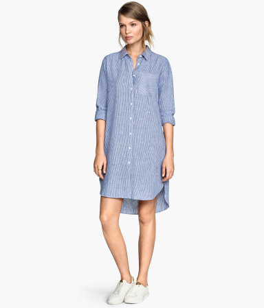 Long Shirt - style: shirt; length: mid thigh; neckline: shirt collar/peter pan/zip with opening; fit: loose; pattern: pinstripe; secondary colour: white; predominant colour: pale blue; occasions: casual; fibres: viscose/rayon - 100%; sleeve length: 3/4 length; sleeve style: standard; pattern type: fabric; pattern size: standard; texture group: woven light midweight; season: s/s 2015; wardrobe: highlight