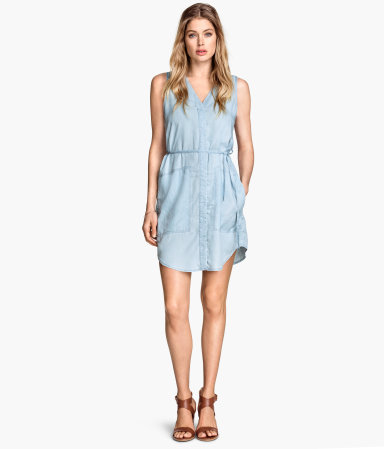 Denim Dress - style: shift; length: mid thigh; neckline: v-neck; fit: fitted at waist; pattern: plain; sleeve style: sleeveless; waist detail: belted waist/tie at waist/drawstring; predominant colour: denim; occasions: casual; sleeve length: sleeveless; texture group: denim; pattern type: fabric; trends: alternative denim; season: s/s 2015; wardrobe: basic