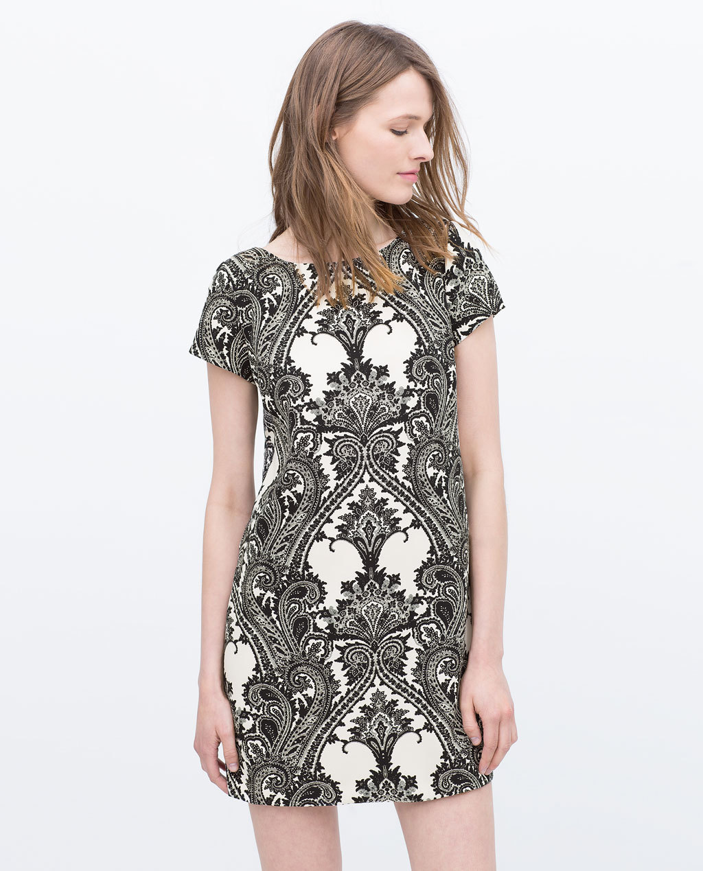 Printed Dress - style: shift; length: mini; fit: tailored/fitted; secondary colour: ivory/cream; predominant colour: black; occasions: casual, evening; fibres: polyester/polyamide - stretch; neckline: crew; sleeve length: short sleeve; sleeve style: standard; pattern type: fabric; pattern size: standard; pattern: patterned/print; texture group: woven light midweight; season: s/s 2015