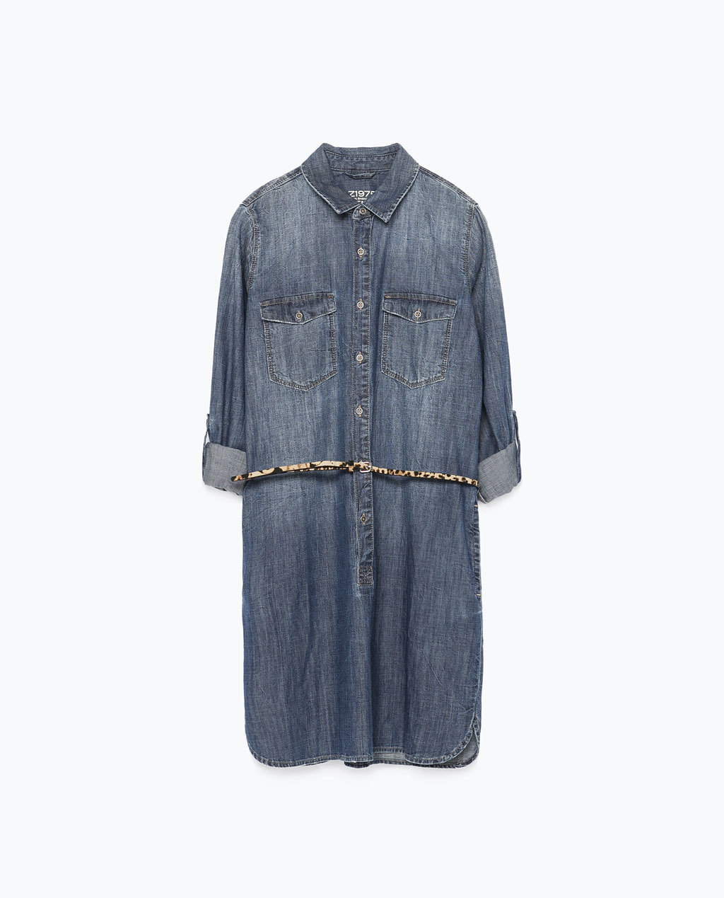 Denim Dress With Belt - style: shirt; length: mid thigh; neckline: shirt collar/peter pan/zip with opening; fit: loose; pattern: plain; bust detail: pocket detail at bust; waist detail: belted waist/tie at waist/drawstring; predominant colour: denim; occasions: casual, creative work; fibres: cotton - stretch; sleeve length: 3/4 length; sleeve style: standard; texture group: denim; pattern type: fabric; trends: alternative denim; season: s/s 2015
