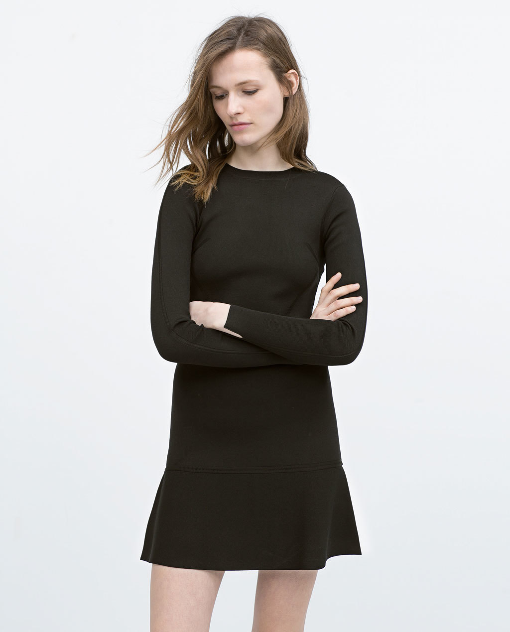 Long Sleeve Mini Dress - style: shift; length: mini; pattern: plain; predominant colour: black; occasions: casual, evening, creative work; fit: body skimming; fibres: viscose/rayon - stretch; neckline: crew; sleeve length: long sleeve; sleeve style: standard; pattern type: fabric; texture group: jersey - stretchy/drapey; season: s/s 2015; wardrobe: basic