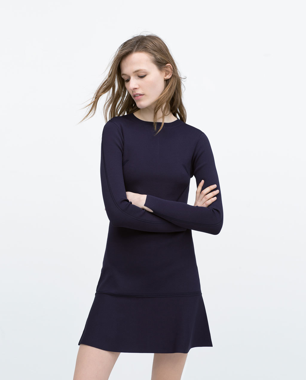 Long Sleeve Mini Dress - style: shift; length: mid thigh; pattern: plain; predominant colour: black; occasions: casual, evening, creative work; fit: soft a-line; fibres: viscose/rayon - stretch; neckline: crew; sleeve length: long sleeve; sleeve style: standard; pattern type: fabric; texture group: other - light to midweight; season: s/s 2015