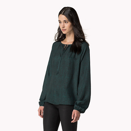 Carla Long Sleeve Blouse - neckline: round neck; predominant colour: dark green; occasions: casual; length: standard; style: top; fit: straight cut; sleeve length: long sleeve; sleeve style: standard; pattern type: fabric; pattern size: standard; pattern: patterned/print; texture group: woven light midweight; season: s/s 2015; wardrobe: highlight