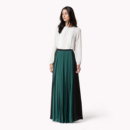 Cara Skirt - pattern: plain; style: full/prom skirt; fit: loose/voluminous; waist: high rise; predominant colour: dark green; occasions: casual, evening, occasion; length: floor length; fibres: polyester/polyamide - 100%; hip detail: adds bulk at the hips; texture group: sheer fabrics/chiffon/organza etc.; pattern type: fabric; season: s/s 2015; wardrobe: highlight