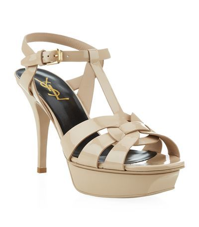 Tribute Patent Sandal 75 - predominant colour: ivory/cream; occasions: evening, occasion; material: leather; ankle detail: ankle strap; heel: stiletto; style: strappy; finish: patent; pattern: plain; heel height: very high; toe: caged; shoe detail: platform; season: s/s 2015