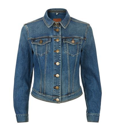 Dymchurch Denim Jacket - pattern: plain; style: denim; fit: slim fit; predominant colour: denim; occasions: casual, creative work; length: standard; fibres: cotton - 100%; collar: shirt collar/peter pan/zip with opening; sleeve length: long sleeve; sleeve style: standard; texture group: denim; collar break: high/illusion of break when open; pattern type: fabric; season: s/s 2015; wardrobe: basic
