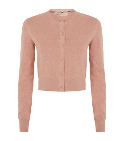 Cropped Cardigan - neckline: round neck; pattern: plain; length: cropped; predominant colour: blush; occasions: casual, creative work; style: standard; fibres: wool - 100%; fit: standard fit; sleeve length: long sleeve; sleeve style: standard; texture group: knits/crochet; pattern type: knitted - fine stitch; season: s/s 2015; wardrobe: basic