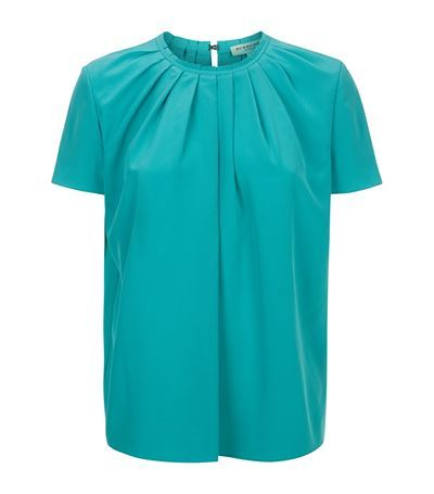 Pleated Crepe Top - pattern: plain; predominant colour: turquoise; length: standard; style: top; fibres: silk - 100%; fit: straight cut; neckline: crew; back detail: keyhole/peephole detail at back; sleeve length: short sleeve; sleeve style: standard; texture group: crepes; bust detail: bulky details at bust; pattern type: fabric; occasions: creative work; season: s/s 2015; wardrobe: highlight