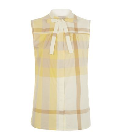 Check Sleeveless Shirt - sleeve style: sleeveless; pattern: checked/gingham; style: shirt; neckline: pussy bow; predominant colour: ivory/cream; occasions: casual, creative work; length: standard; fibres: cotton - 100%; fit: body skimming; sleeve length: sleeveless; texture group: sheer fabrics/chiffon/organza etc.; pattern type: fabric; season: s/s 2015; pattern size: big & busy (top); wardrobe: highlight