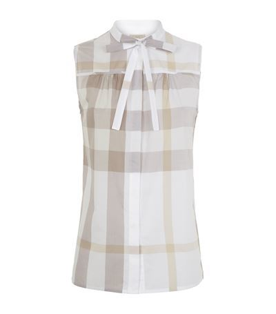Check Sleeveless Shirt - sleeve style: sleeveless; pattern: checked/gingham; style: shirt; neckline: pussy bow; predominant colour: white; occasions: casual, creative work; length: standard; fibres: cotton - 100%; fit: body skimming; sleeve length: sleeveless; texture group: sheer fabrics/chiffon/organza etc.; pattern type: fabric; season: s/s 2015; pattern size: big & busy (top); wardrobe: highlight