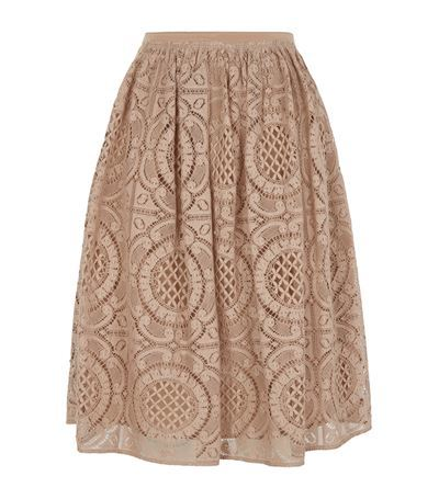 English Lace Full Skirt - fit: tailored/fitted; waist: high rise; predominant colour: nude; occasions: evening, creative work; length: on the knee; style: a-line; fibres: cotton - mix; waist detail: feature waist detail; texture group: lace; pattern type: fabric; pattern: patterned/print; season: s/s 2015; pattern size: big & busy (bottom); wardrobe: highlight