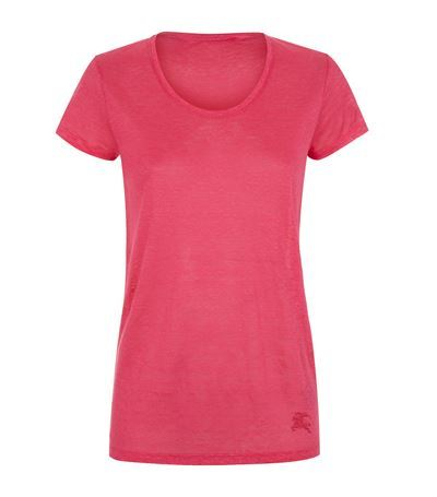 Logo T Shirt - neckline: round neck; pattern: plain; style: t-shirt; predominant colour: hot pink; occasions: casual, creative work; length: standard; fibres: linen - 100%; fit: body skimming; sleeve length: short sleeve; sleeve style: standard; pattern type: fabric; texture group: woven bulky/heavy; season: s/s 2015; wardrobe: highlight