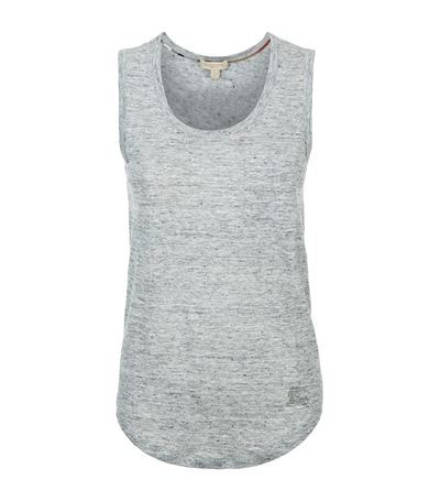 Sleeveless T Shirt - pattern: plain; sleeve style: sleeveless; predominant colour: light grey; occasions: casual, creative work; length: standard; style: top; neckline: scoop; fibres: linen - 100%; fit: body skimming; sleeve length: sleeveless; pattern type: fabric; texture group: jersey - stretchy/drapey; season: s/s 2015; wardrobe: basic