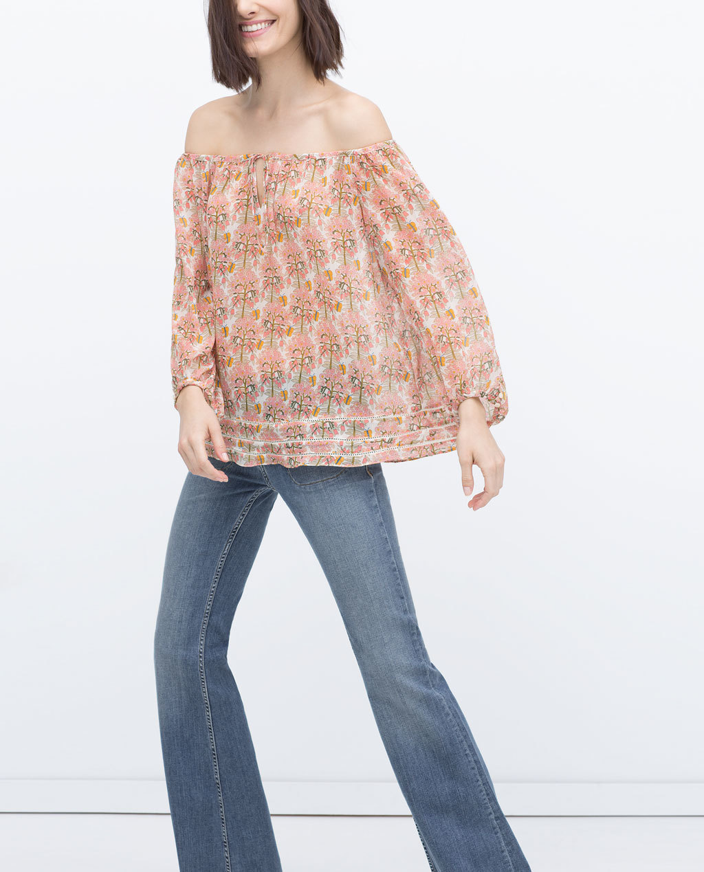 Printed Blouse - neckline: off the shoulder; length: below the bottom; style: blouse; secondary colour: ivory/cream; predominant colour: pink; occasions: casual; fibres: polyester/polyamide - 100%; fit: loose; sleeve length: long sleeve; sleeve style: standard; texture group: sheer fabrics/chiffon/organza etc.; pattern type: fabric; pattern size: standard; pattern: patterned/print; season: s/s 2015; multicoloured: multicoloured; wardrobe: highlight