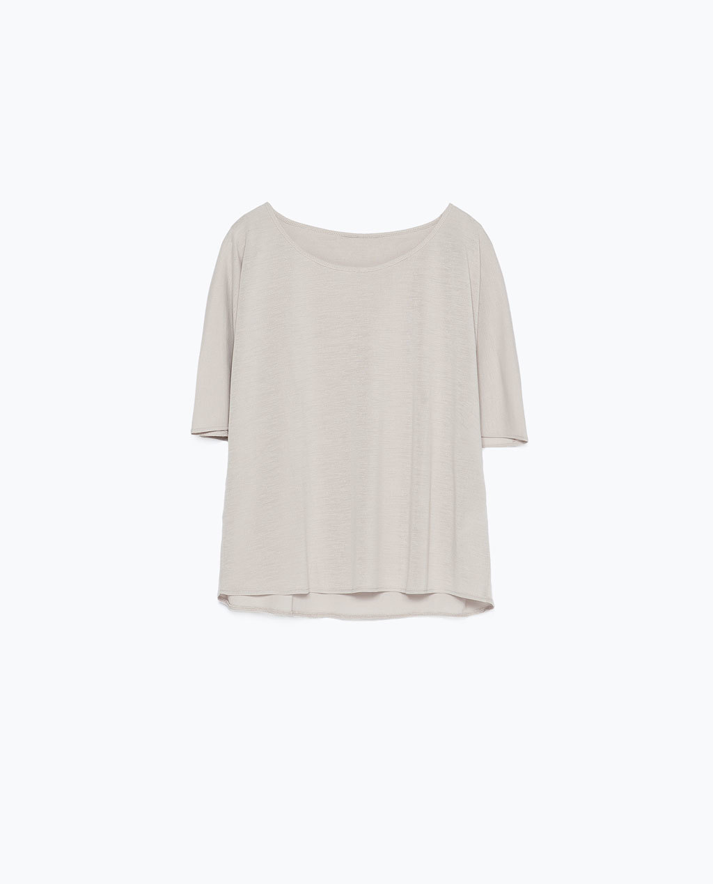 Double Layer T Shirt - sleeve style: angel/waterfall; pattern: plain; style: t-shirt; predominant colour: stone; occasions: casual, creative work; length: standard; neckline: scoop; fibres: polyester/polyamide - stretch; fit: straight cut; sleeve length: 3/4 length; texture group: crepes; pattern type: fabric; season: s/s 2015; wardrobe: basic