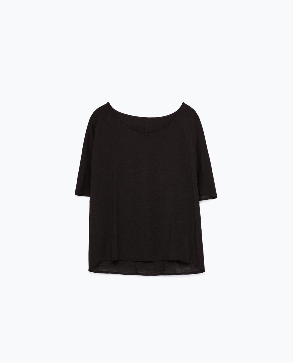 Double Layer T Shirt - neckline: round neck; sleeve style: angel/waterfall; pattern: plain; style: t-shirt; predominant colour: black; occasions: casual, creative work; length: standard; fibres: polyester/polyamide - stretch; fit: straight cut; sleeve length: half sleeve; texture group: crepes; pattern type: fabric; season: s/s 2015; wardrobe: basic