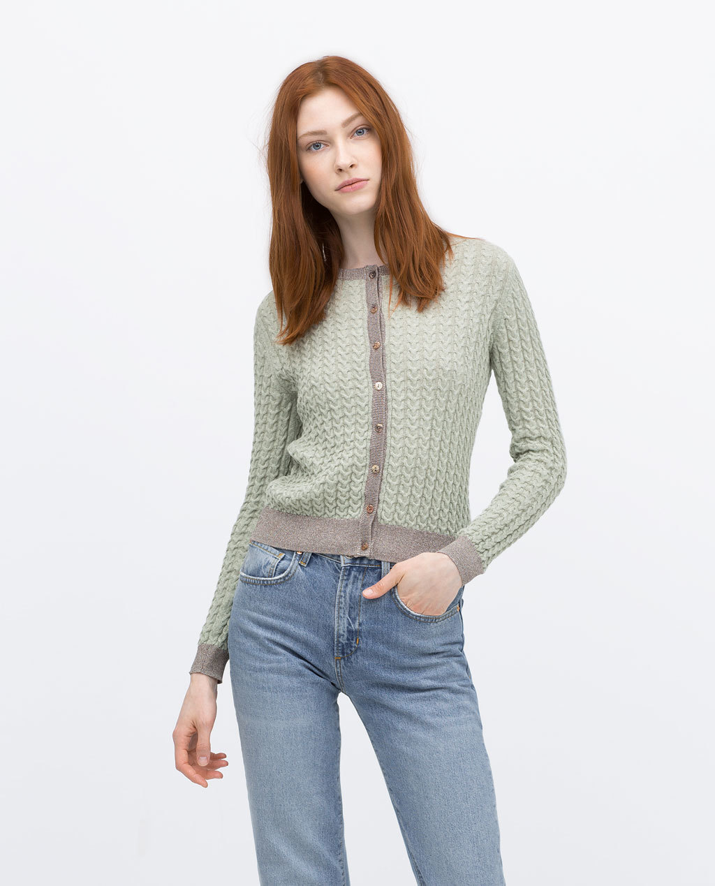 Knitted Cardigan - neckline: round neck; predominant colour: pistachio; secondary colour: mid grey; occasions: casual, creative work; length: standard; style: standard; fibres: polyester/polyamide - mix; fit: standard fit; sleeve length: long sleeve; sleeve style: standard; texture group: knits/crochet; pattern type: knitted - other; pattern size: standard; pattern: colourblock; season: s/s 2015; wardrobe: highlight