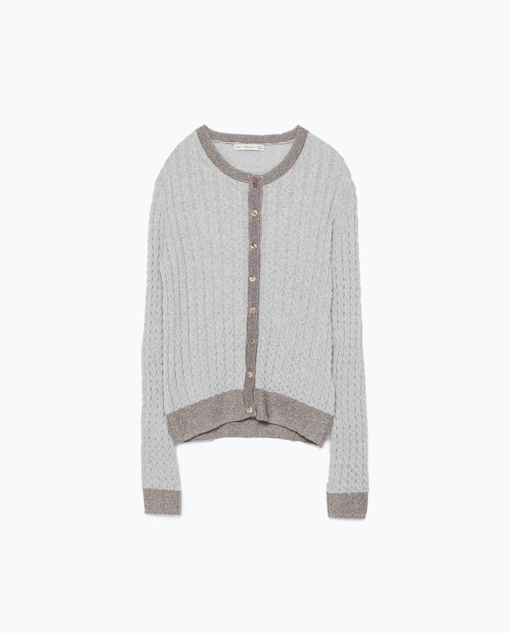 Knitted Cardigan - neckline: round neck; secondary colour: taupe; predominant colour: light grey; occasions: casual, creative work; length: standard; style: standard; fibres: polyester/polyamide - mix; fit: standard fit; sleeve length: long sleeve; sleeve style: standard; texture group: knits/crochet; pattern type: knitted - fine stitch; pattern size: light/subtle; pattern: colourblock; season: s/s 2015; wardrobe: highlight