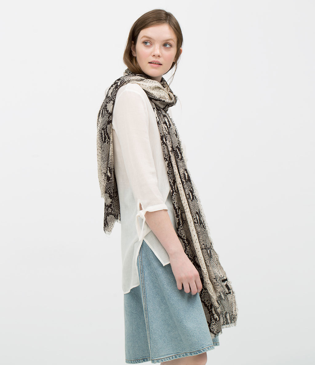 Snake Print Scarf - predominant colour: stone; secondary colour: charcoal; occasions: casual, creative work; type of pattern: heavy; style: regular; size: standard; material: fabric; pattern: animal print; season: s/s 2015; wardrobe: highlight
