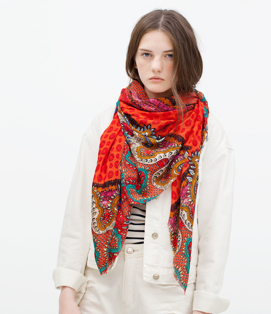 Boho Paisley Scarf - predominant colour: true red; secondary colour: black; occasions: casual, creative work; type of pattern: heavy; style: square; size: large; material: fabric; pattern: paisley; season: s/s 2015; multicoloured: multicoloured; wardrobe: highlight