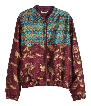 Jacquard Weave Bomber Jacket - collar: round collar/collarless; style: bomber; predominant colour: burgundy; secondary colour: mint green; occasions: casual, creative work; length: standard; fit: straight cut (boxy); waist detail: fitted waist; sleeve length: long sleeve; sleeve style: standard; collar break: high; pattern type: fabric; pattern: patterned/print; texture group: brocade/jacquard; season: s/s 2015; pattern size: big & busy (top); wardrobe: highlight